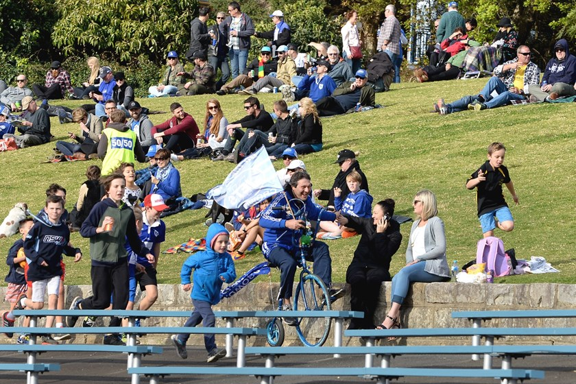John Trad cycles around Henson Park every time the Jets score a try.