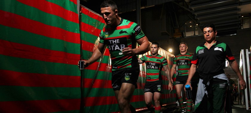 Sam Burgess leads the Rabbitohs out in 2013.