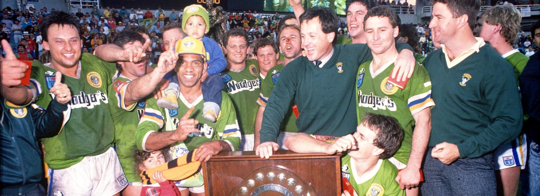 The Raiders celebrate the 1989 grand final.
