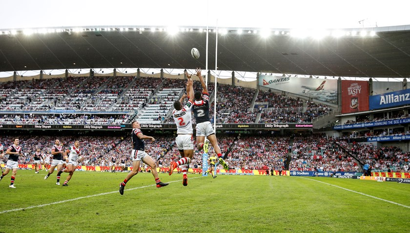 The Roosters and Dragons in action at Allianz Stadium in 2017.