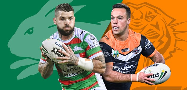 Rabbitohs v Wests Tigers: Robert Jennings in; Aloiai to start