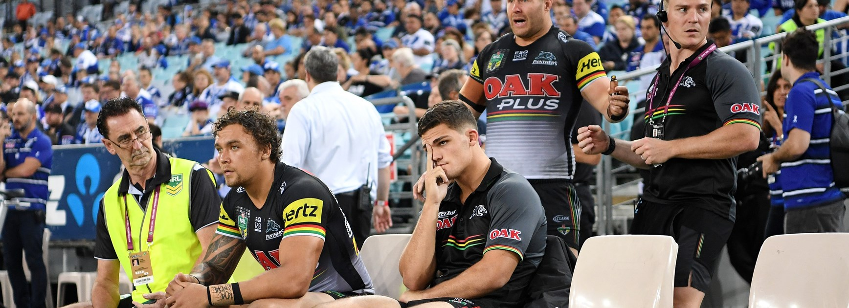 Panthers halfback Nathan Cleary ices his injured knee.