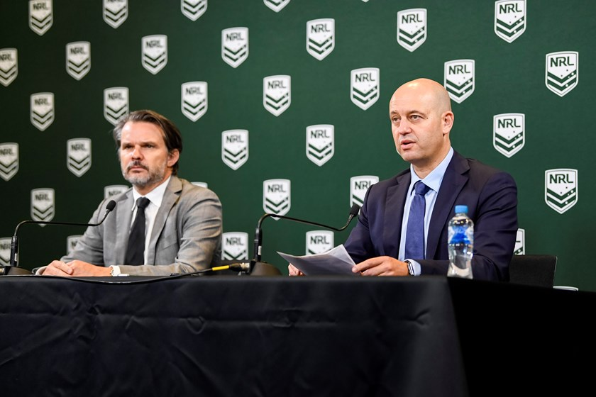 NRL chief operating officer Nick Weeks and chief executive officer Todd Greenberg.