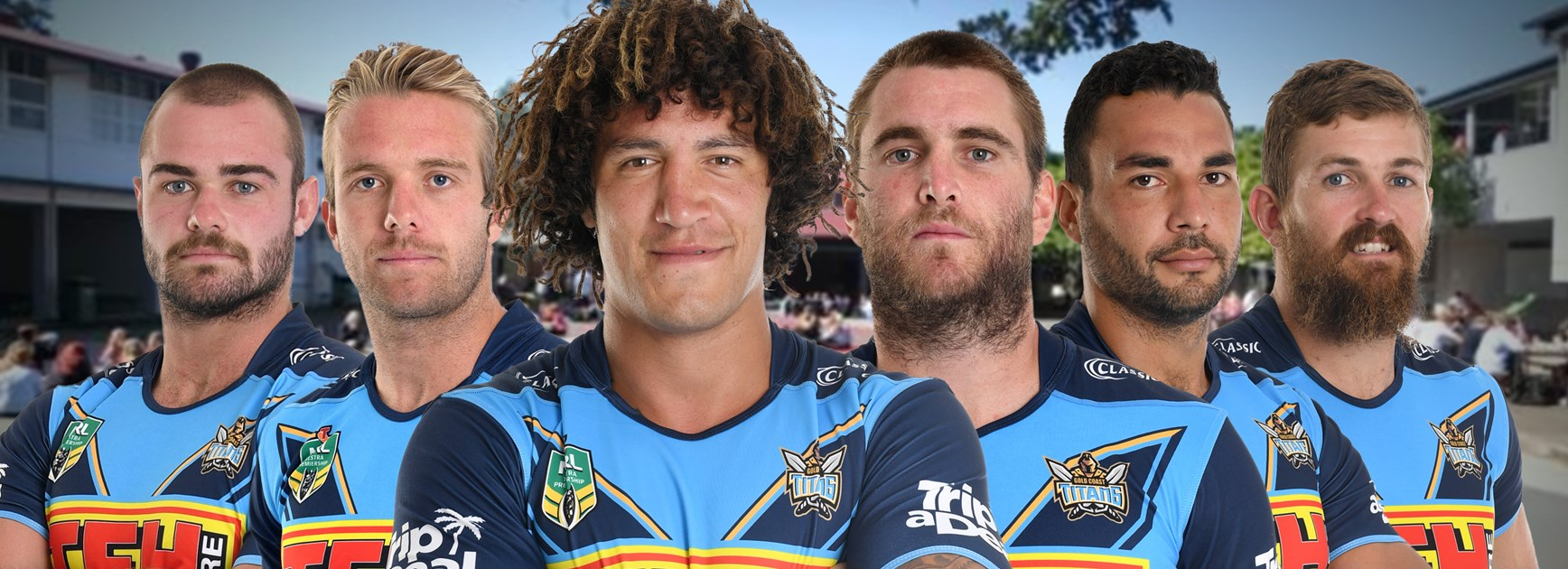 Ex students from Palm Beach Currumbin High School who are now on the books of the Gold Coast Titans.