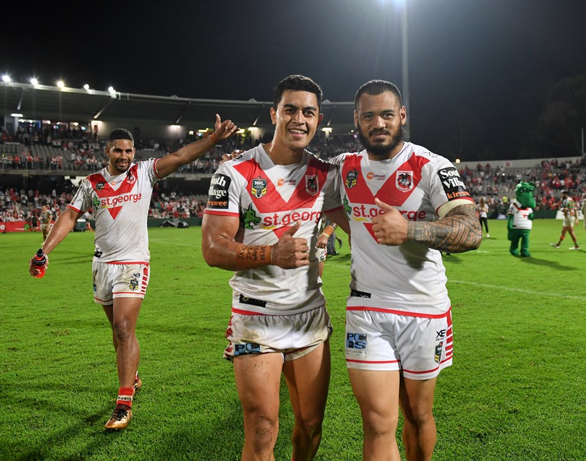 Dragons duo Tim Lafai and Leeson Ah Mau.