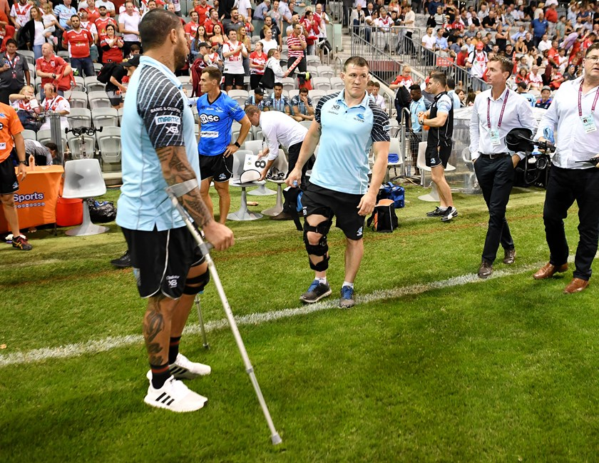 Injured Sharks Andrew Fifita and Paul Gallen