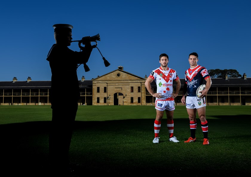 Dragons halfback Ben Hunt and Roosters halfback Cooper Cronk.