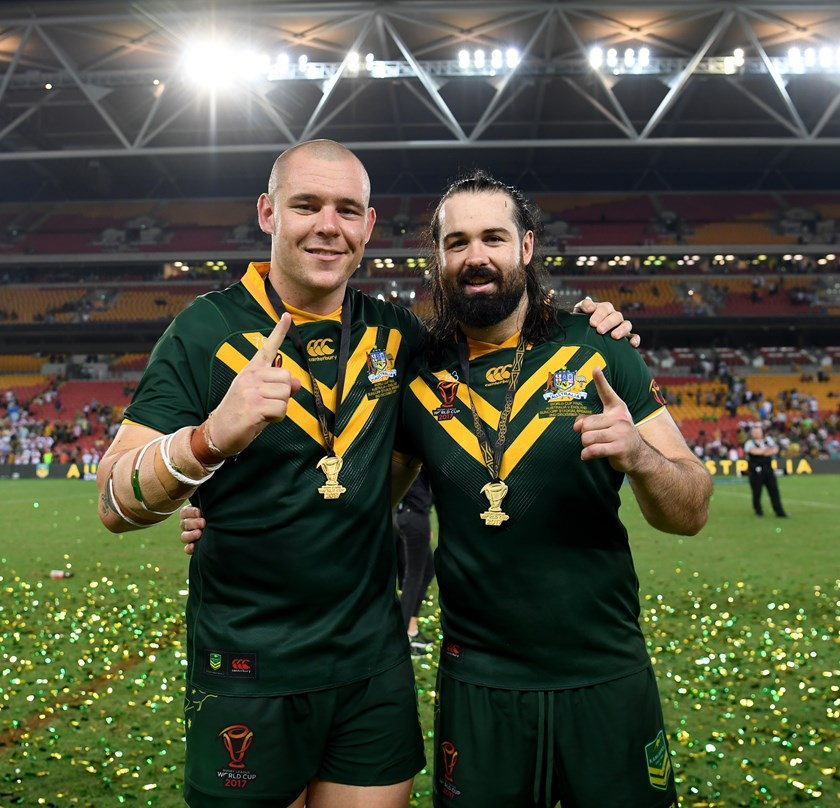 David Klemmer and Aaron Woods after Australia's World Cup final win over England last year.