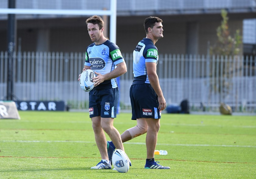 NSW halves James Maloney and Nathan Cleary.