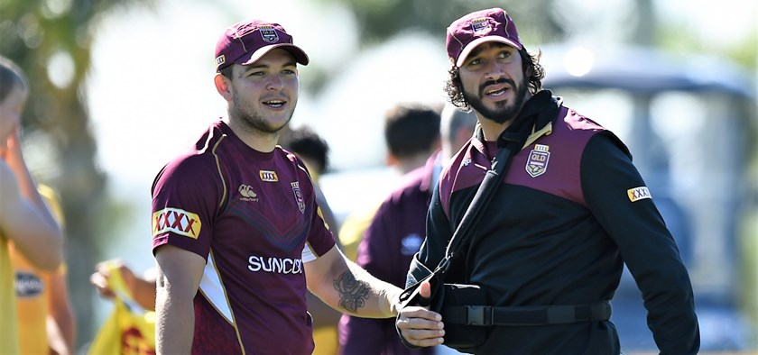Ash Taylor with Johnathan Thurston in Maroons camp in 2017.