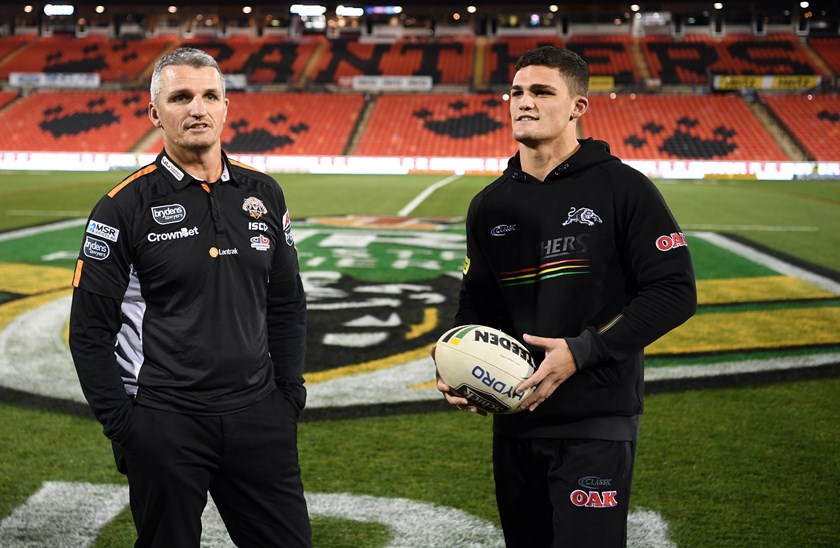 Ivan Cleary and Nathan Cleary at the Wests Tigers v Penrith game in 2018 at Panthers Stadium.