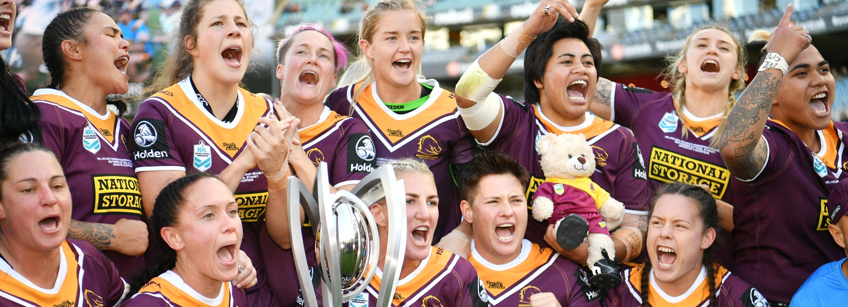 The 2018 NRLW premiership-winning Broncos.