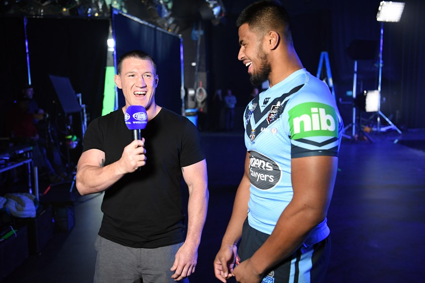 Payne Haas has a laugh while being interviewed by ex-NSW skipper Paul Gallen.