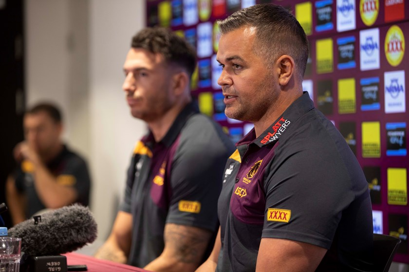 New Broncos coach Anthony Seibold and captain Darius Boyd.
