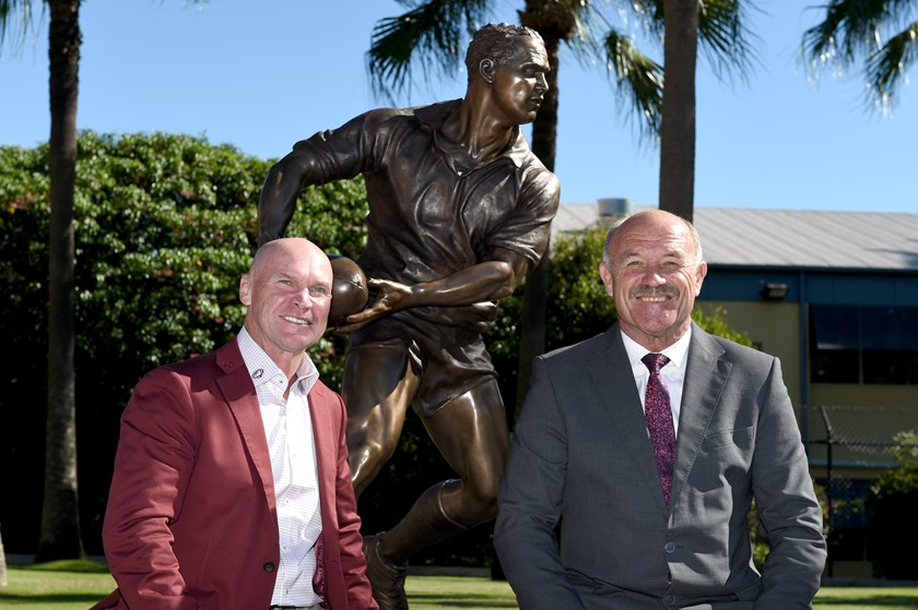 Maroons greats Allan Langer (left) and Wally Lewis at the unveiling of Langer's bronze statue.