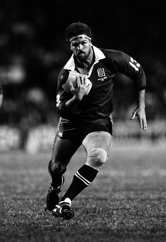 Greg Dowling carts the ball up in Origin in 1987.