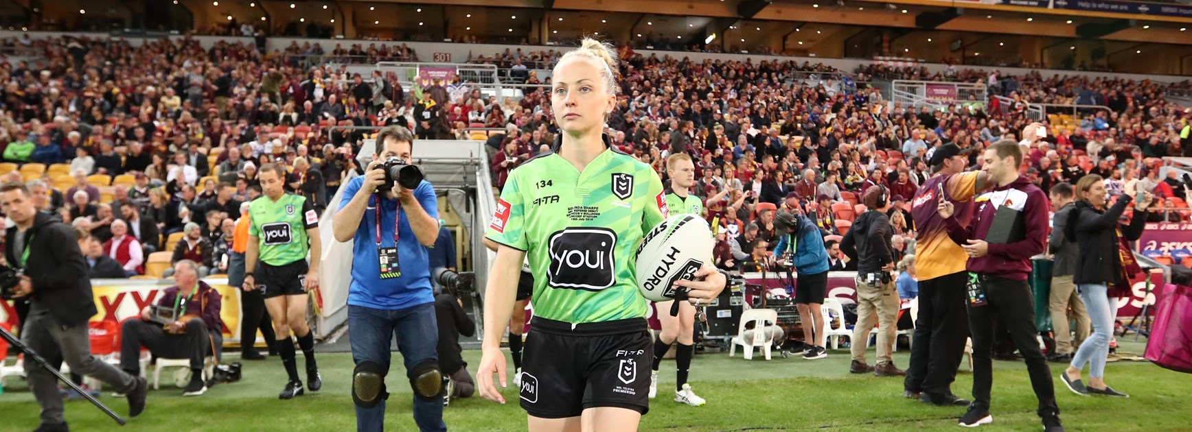 Belinda Sharpe carried the match ball to her first match as a NRL referee