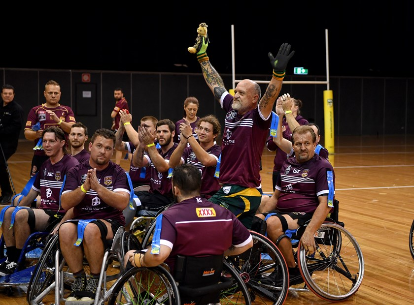 Queensland celebrate winning the 2019 State of Origin against NSW.