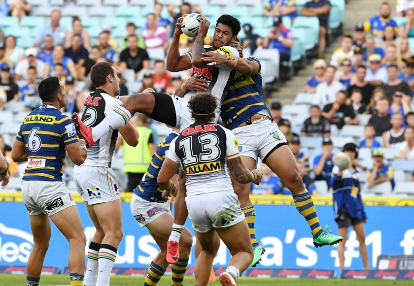 Waqa Blake outleaps the Eels in 2018.