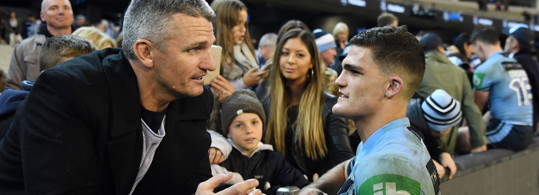Ivan and Nathan Cleary after Nathan's Origin debut in 2018.