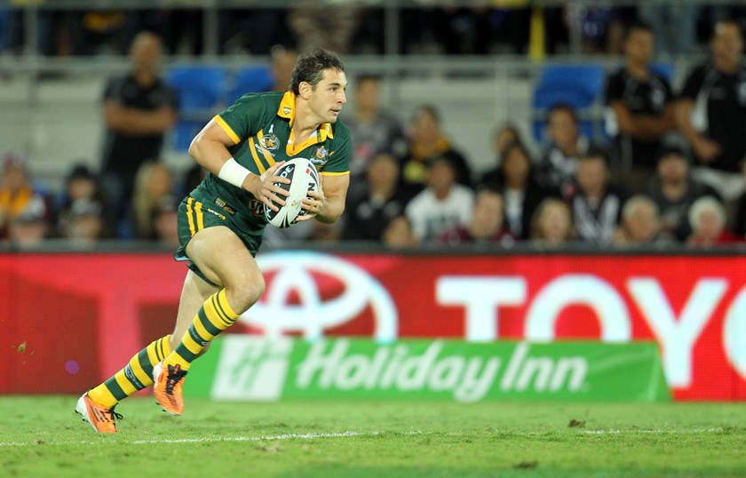 Billy Slater in full cry for the Kangaroos in 2011.