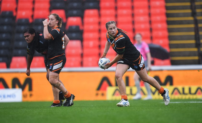 Emily and Sophie Curtain in action for the Wests Tigers.