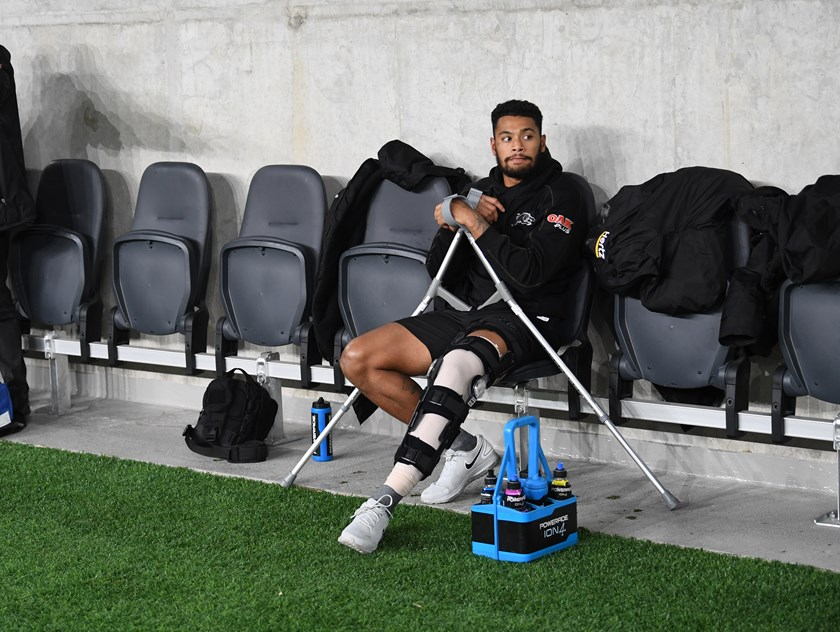 A dejected Waqa Blake after injuring his knee in round 11.
