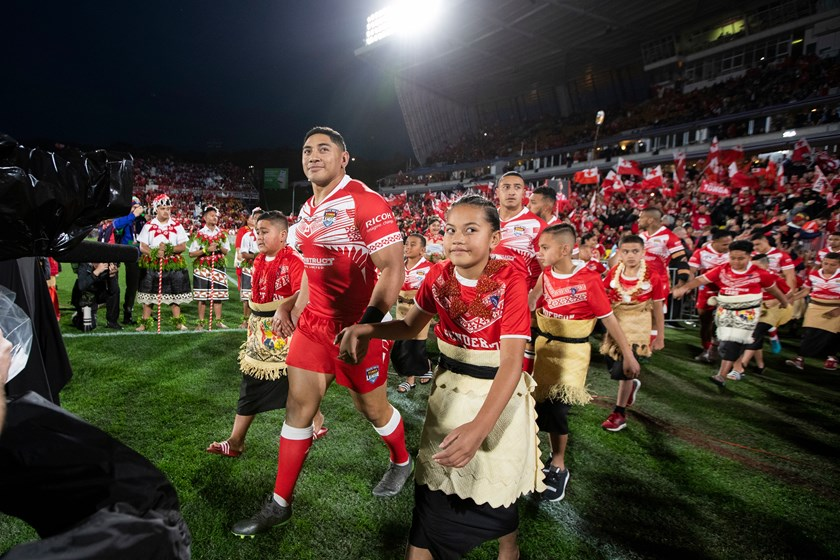 Jason Taumalolo leads Tonga out to face the Kiwis in June.