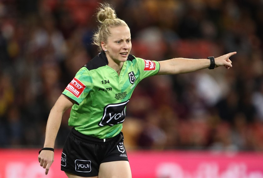 Belinda Sharpe takes charge of her first NRL game.