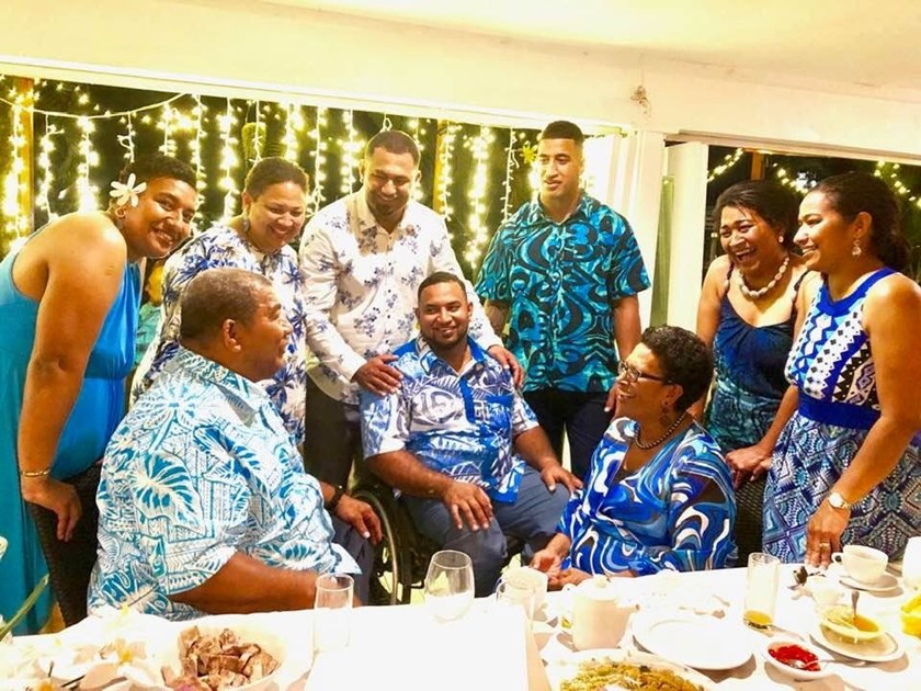 Viliame Kikau with his family, celebrating his brother Jope's wedding in Fiji.
