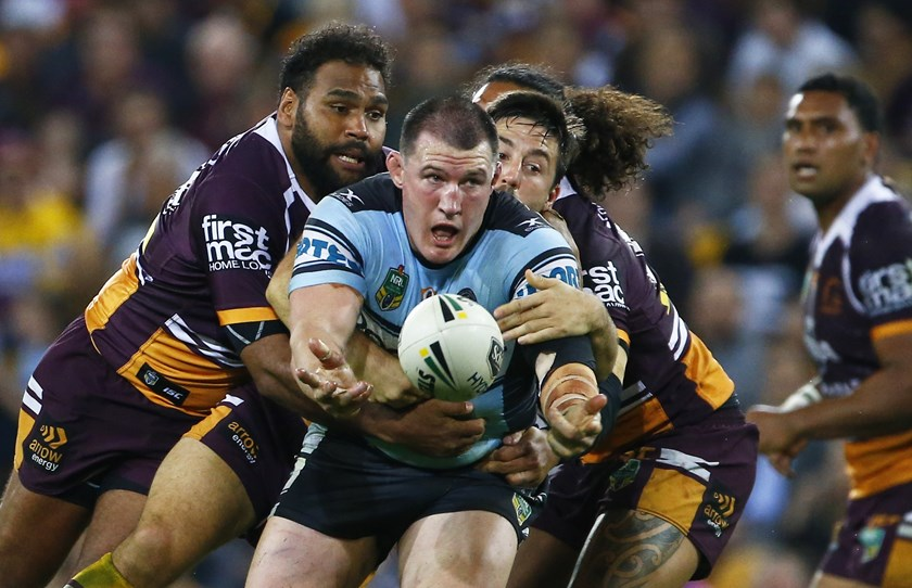 Paul Gallen in action in his 300th NRL match.