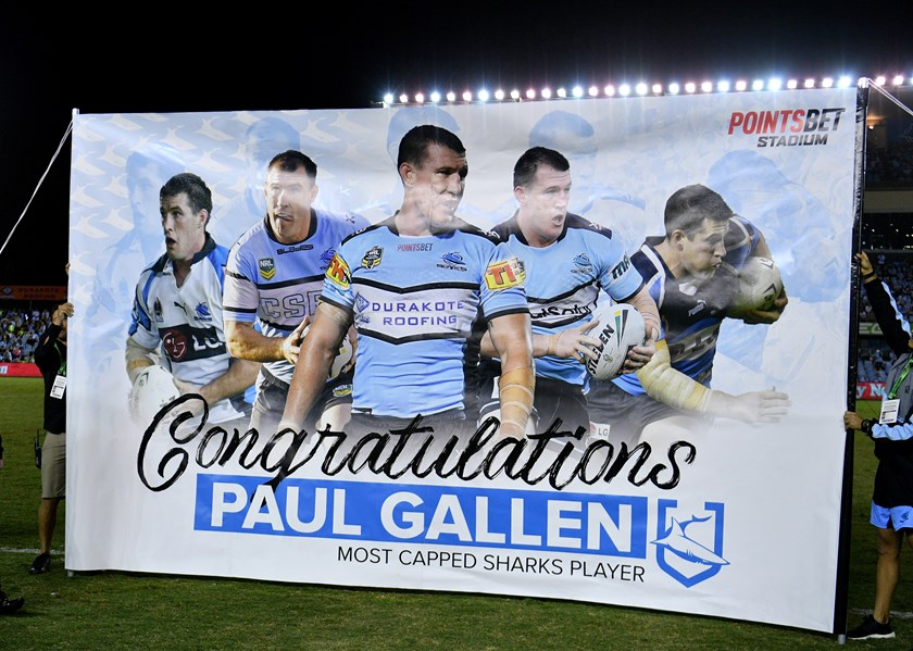 The Sharks celebrate Paul Gallen's most appearances record.