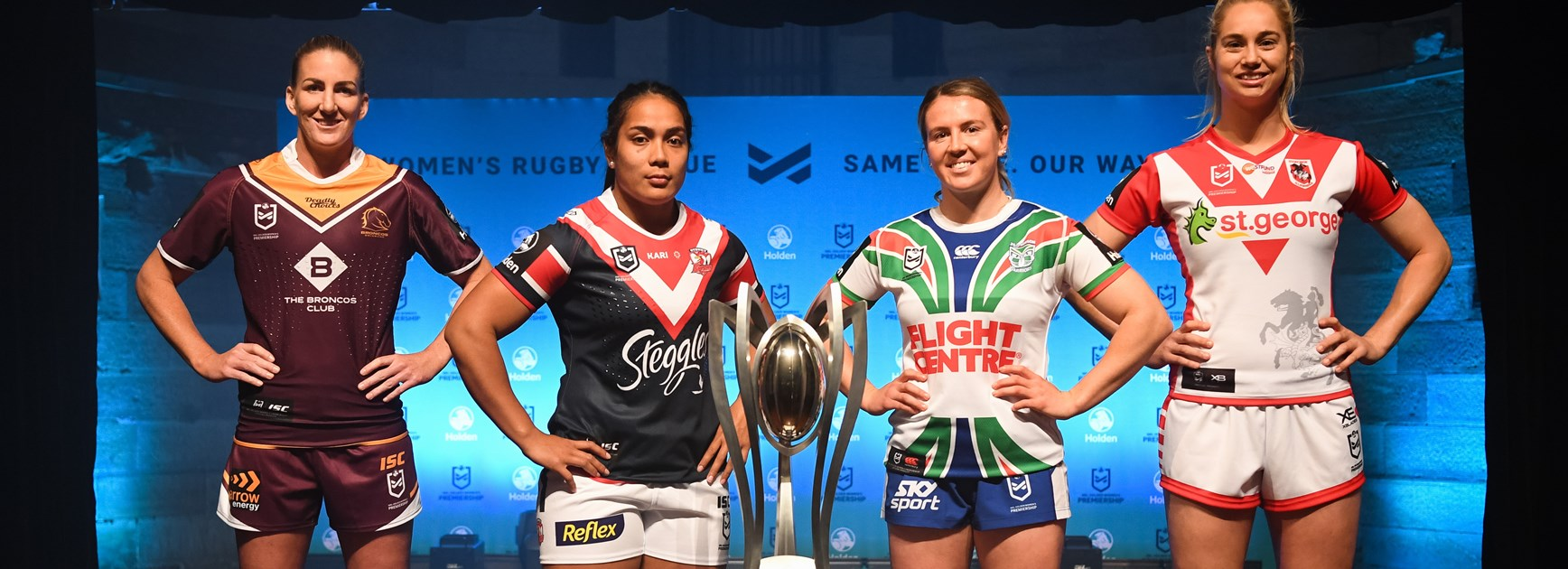 Ali Brigginshaw, Simaima Taufa, Georgia Hale and Kezie Apps at the NRLW season launch.