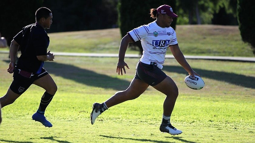 Moses Suli in pre-season training with Manly.