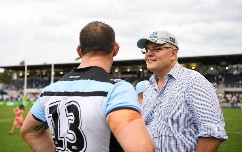 Prime Minister Scott Morrison and Sharks legend Paul Gallen.