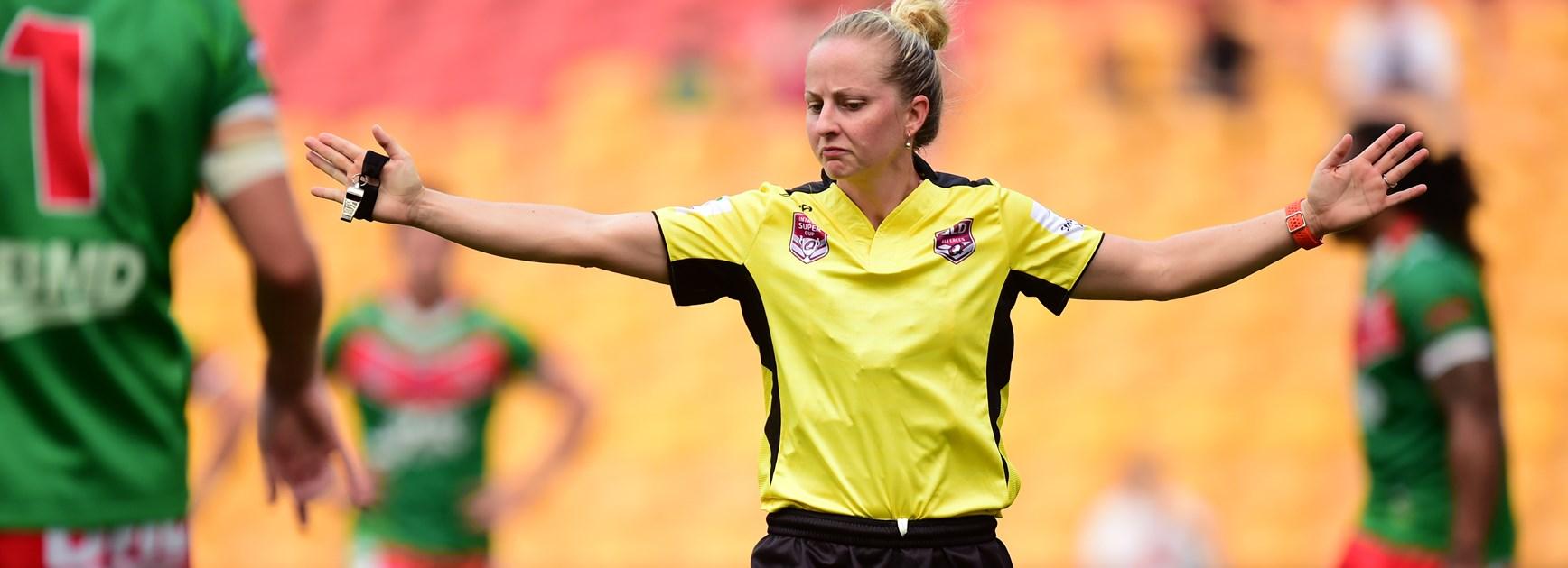 Referee Belinda Sleeman.
