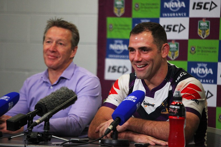 Storm coach Craig Bellamy and captain Cameron Smith.
