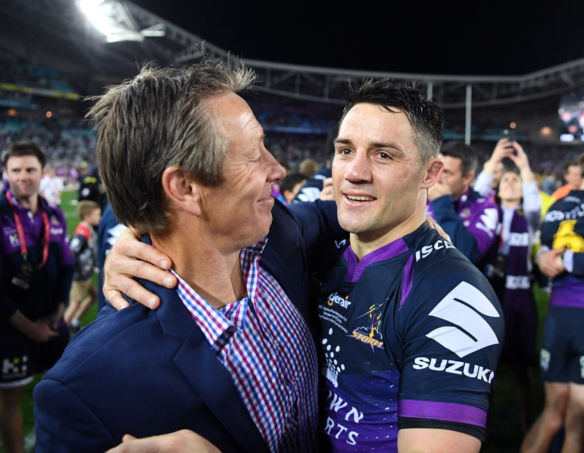 Cooper Cronk and Craig Bellamy celebrate the Storm's 2017 success.