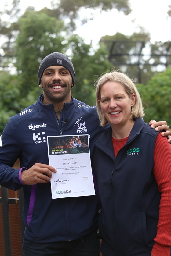 Storm flyer Josh Addo-Carr gets involved with Adopt-A-Tiger.