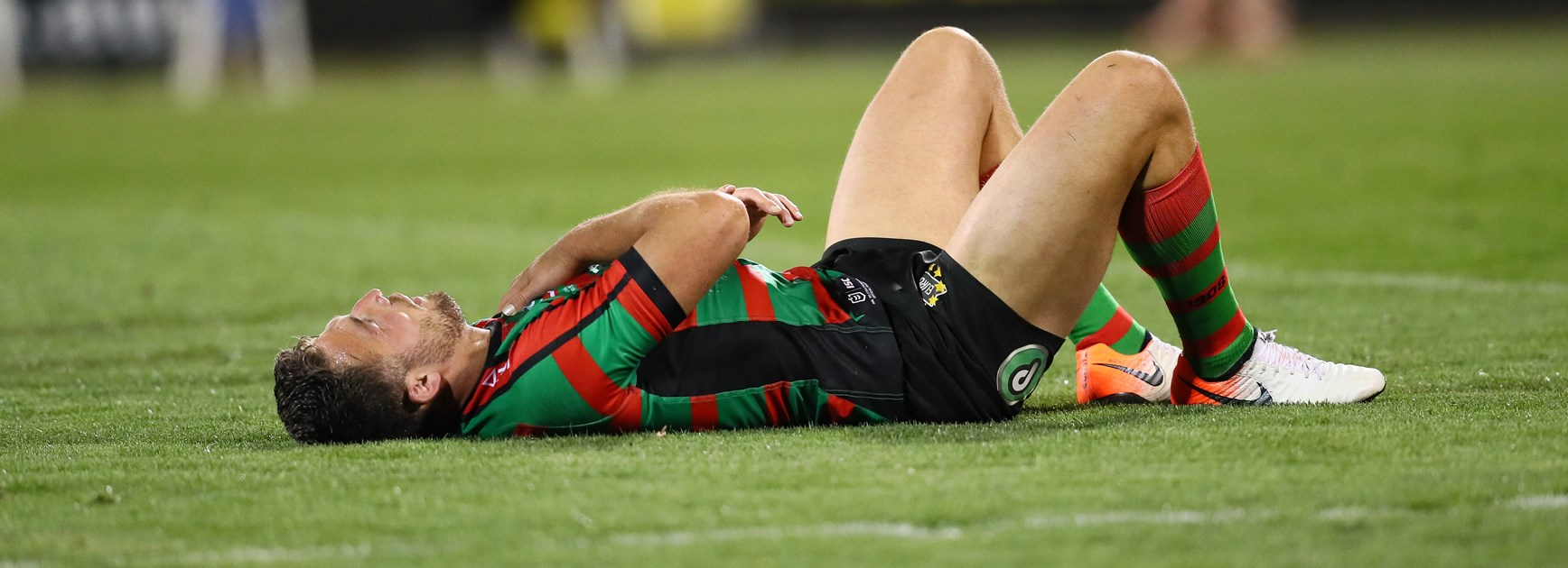 Sam Burgess down injured during the preliminary final.