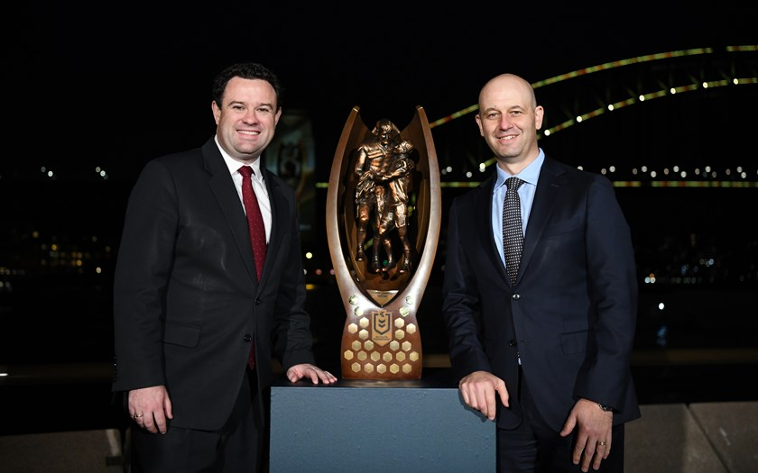 NRL CEO Todd Greenberg and NSW Sports Minister Stuart Ayres.