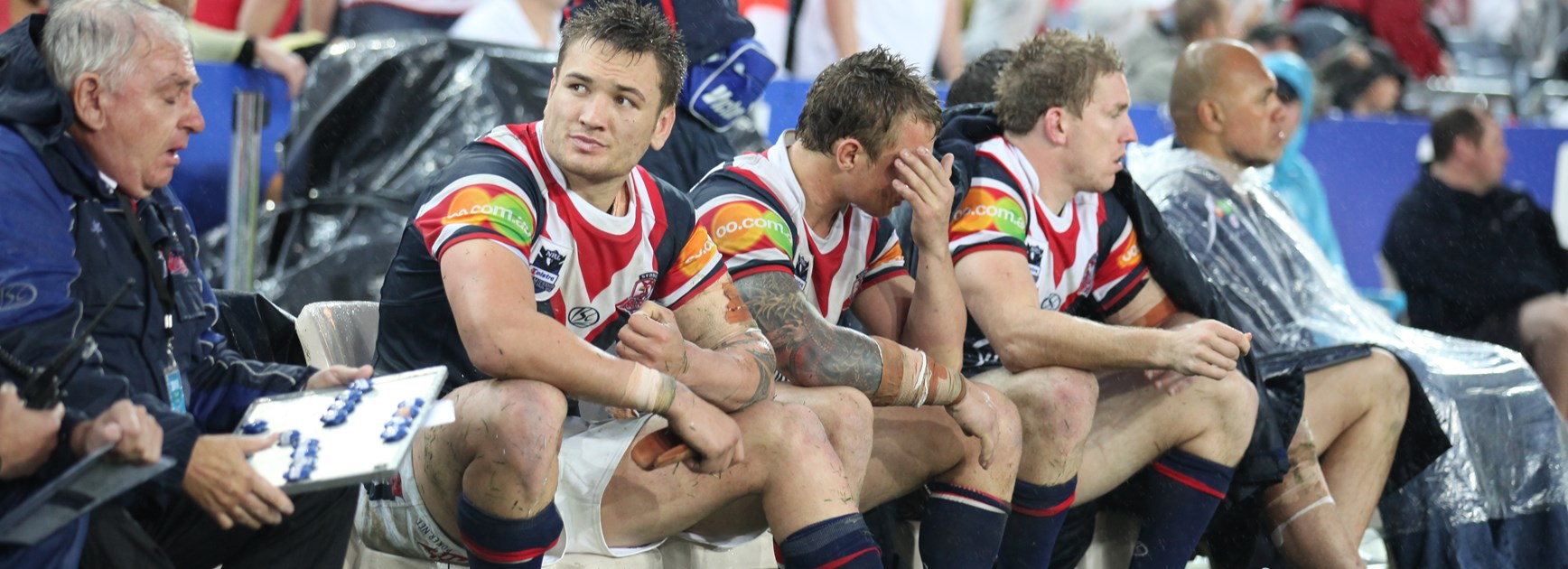 The Roosters bench after the 2010 grand final loss.