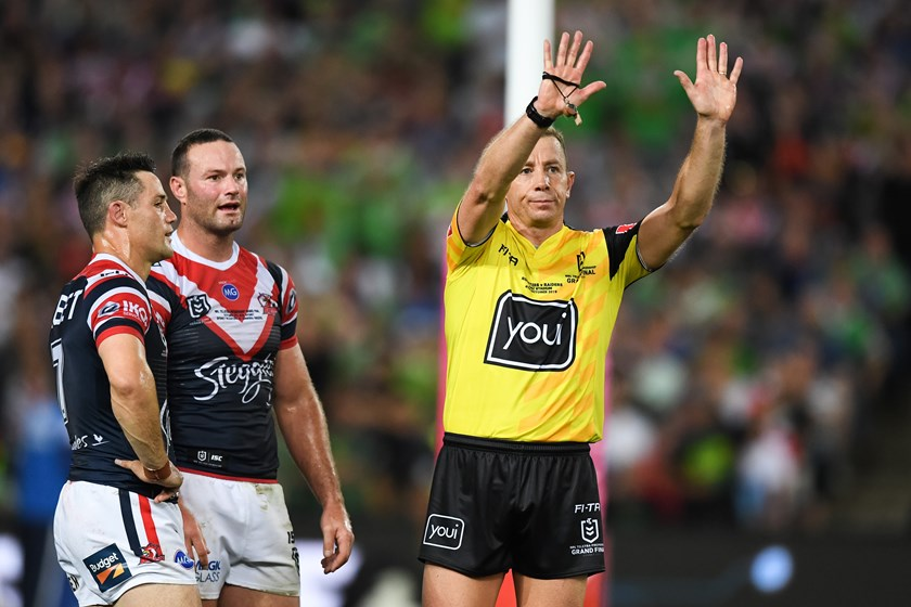 Roosters halfback Cooper Cronk is sent to the sin bin in the 2019 grand final.