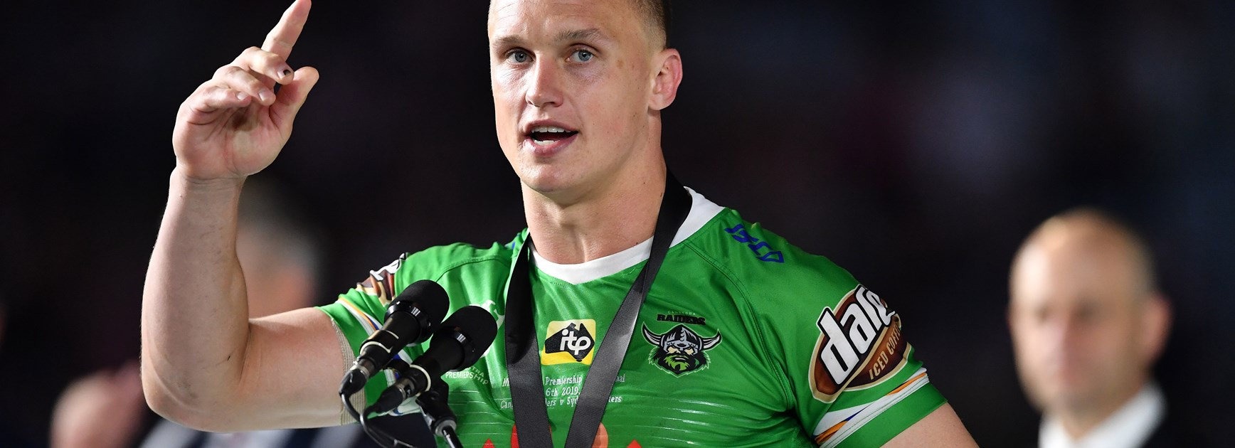 Raiders five-eighth Jack Wighton claims the Clive Churchill Medal.