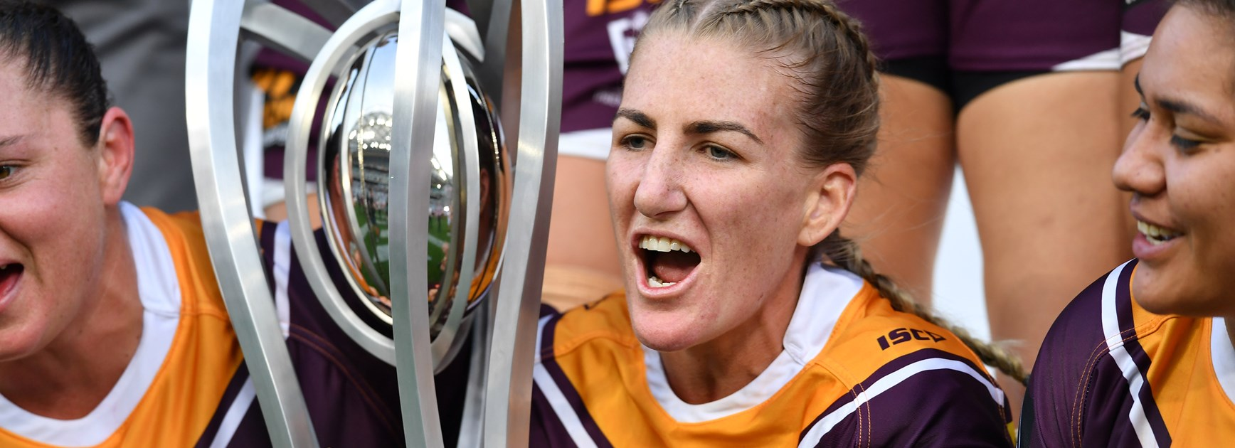 Broncos captain Ali Brigginshaw and the NRLW trophy.