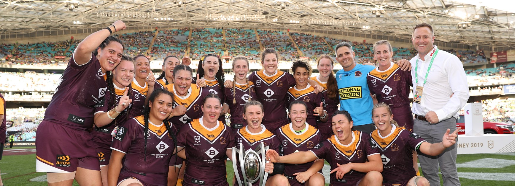 The Brisbane Broncos celebrate going back-to-back in the NRLW.