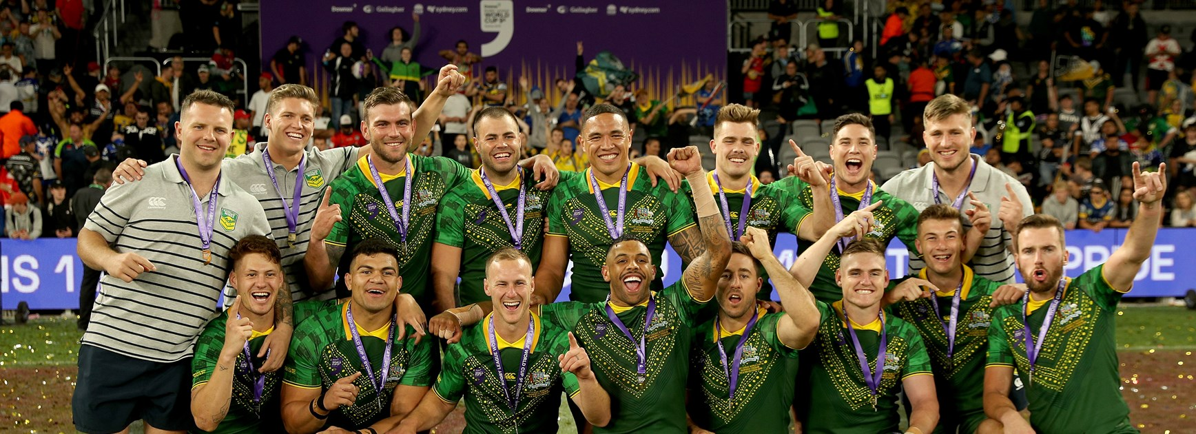 The Kangaroos celebrate their World Cup 9s triumph.