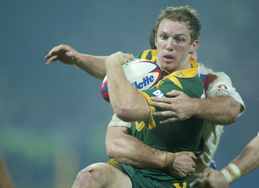 Darren Lockyer playing for fullback for Australia in 2003.