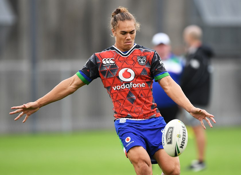 Chanel Harris-Tavita kicks at training.