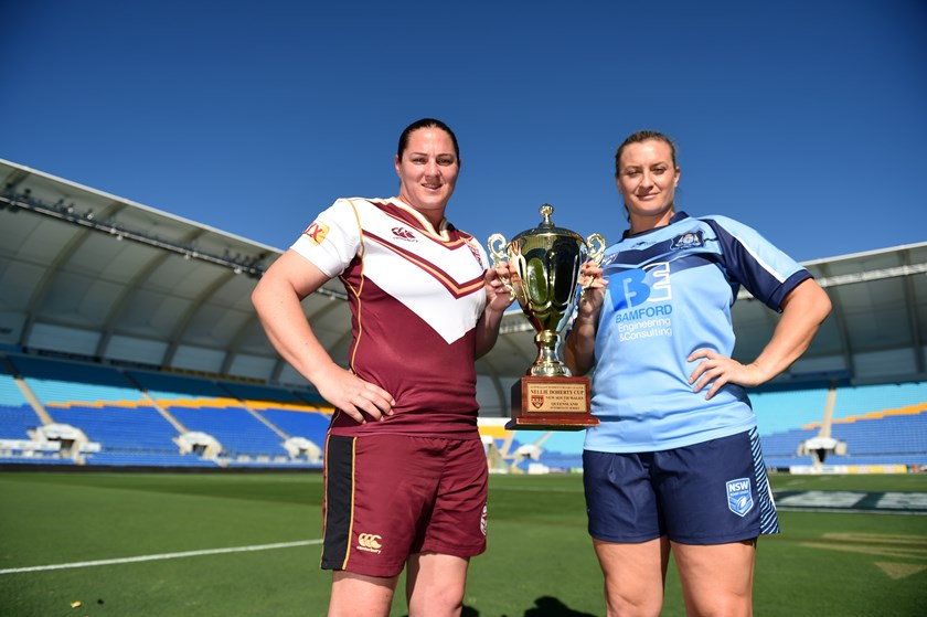 Rival captains Steph Hancock and Ruan Sims ahead of the 2016 interstate clash.